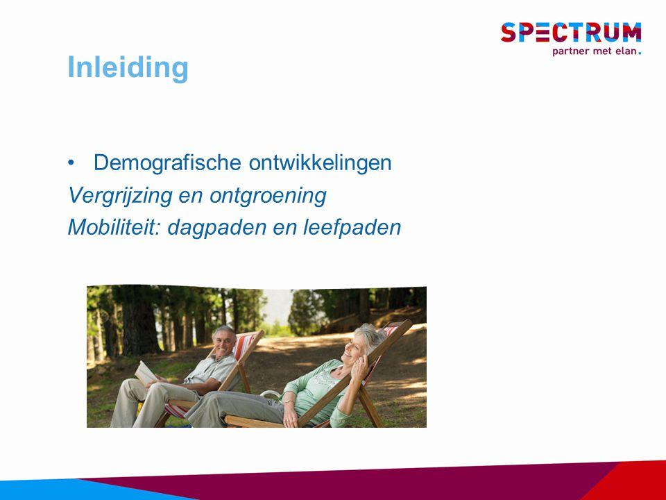Inleiding Demografische ontwikkelingen Vergrijzing en ontgroening Mobiliteit: dagpaden en leefpaden