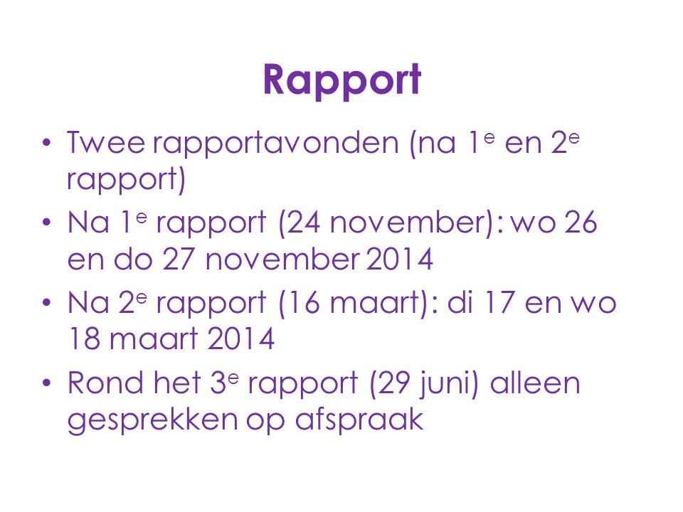 Rapport Twee rapportavonden (na 1 e en 2 e rapport) Na 1 e rapport (24 november): wo 26 en do 27 november 2014 Na 2 e rapport (16 maart): di 17 en wo