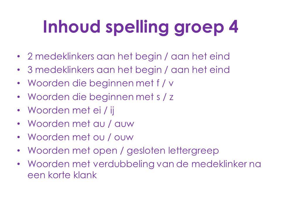 Inhoud spelling groep 4 2 medeklinkers aan het begin / aan het eind 3 medeklinkers aan het begin / aan het eind Woorden die beginnen met f / v Woorden