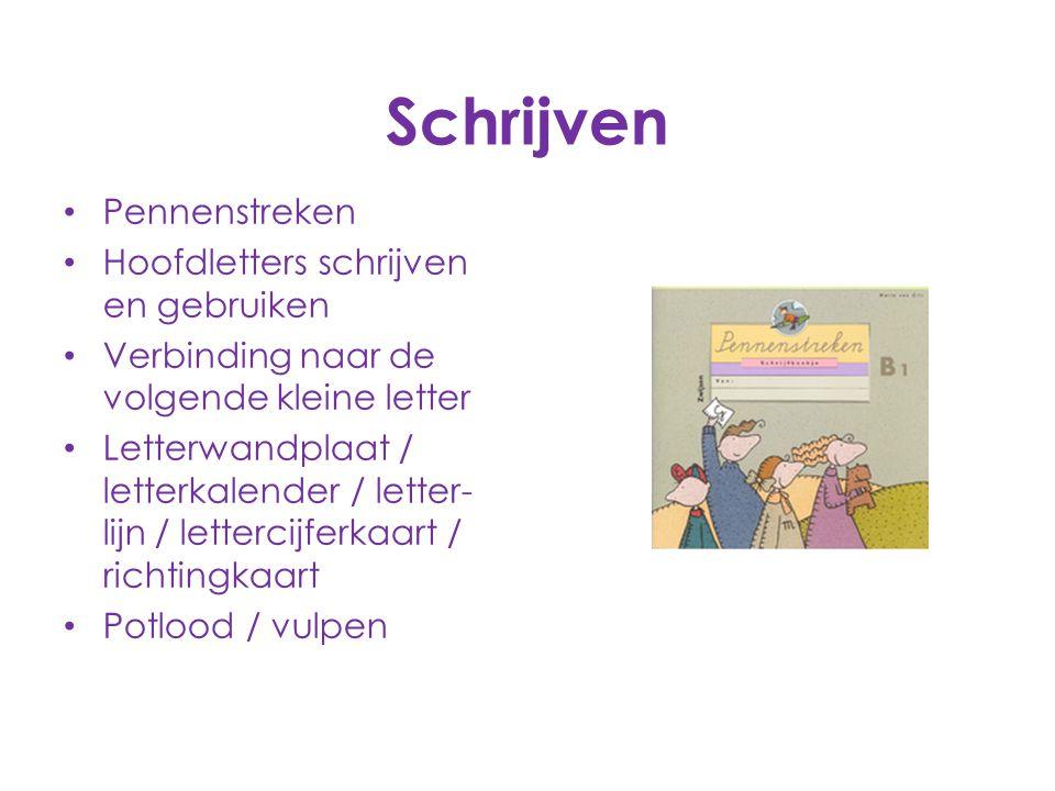 Schrijven Pennenstreken Hoofdletters schrijven en gebruiken Verbinding naar de volgende kleine letter Letterwandplaat / letterkalender / letter- lijn