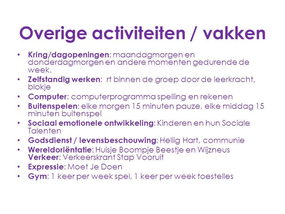Overige activiteiten / vakken Kring/dagopeningen : maandagmorgen en donderdagmorgen en andere momenten gedurende de week. Zelfstandig werken : rt binn