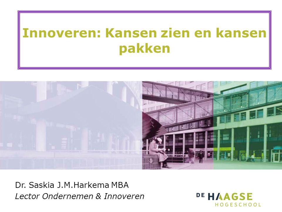 Innoveren: Kansen zien en kansen pakken Dr. Saskia J.M.Harkema MBA Lector Ondernemen & Innoveren