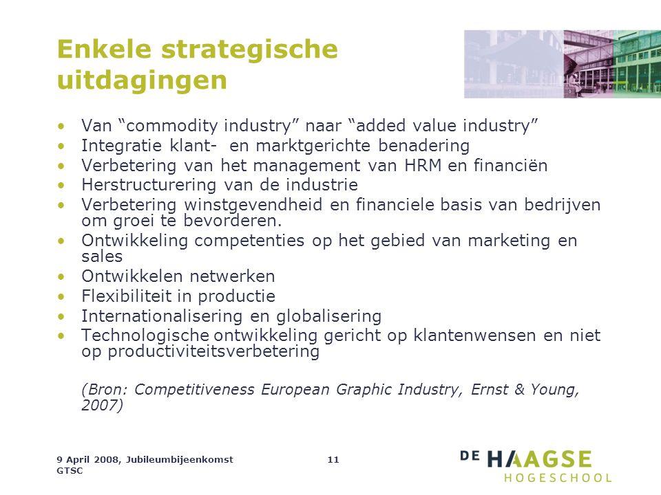 """9 April 2008, Jubileumbijeenkomst GTSC 11 Enkele strategische uitdagingen Van """"commodity industry"""" naar """"added value industry"""" Integratie klant- en ma"""