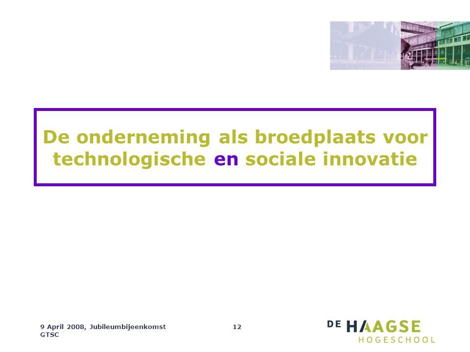 9 April 2008, Jubileumbijeenkomst GTSC 12 De onderneming als broedplaats voor technologische en sociale innovatie