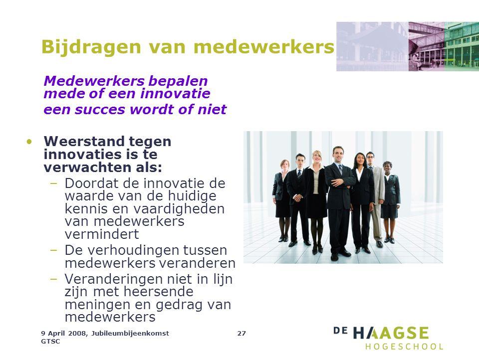 9 April 2008, Jubileumbijeenkomst GTSC 27 Bijdragen van medewerkers Medewerkers bepalen mede of een innovatie een succes wordt of niet Weerstand tegen
