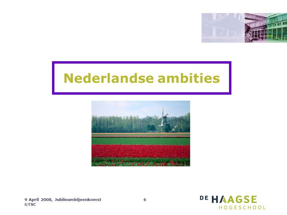 9 April 2008, Jubileumbijeenkomst GTSC 6 Nederlandse ambities