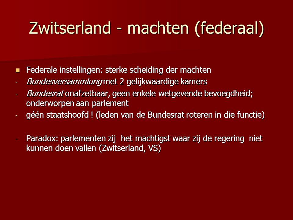 Zwitserland - machten (federaal) Federale instellingen: sterke scheiding der machten Federale instellingen: sterke scheiding der machten - Bundesversa