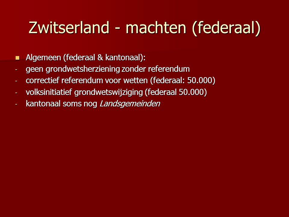 Zwitserland - machten (federaal) Algemeen (federaal & kantonaal): Algemeen (federaal & kantonaal): - geen grondwetsherziening zonder referendum - corr