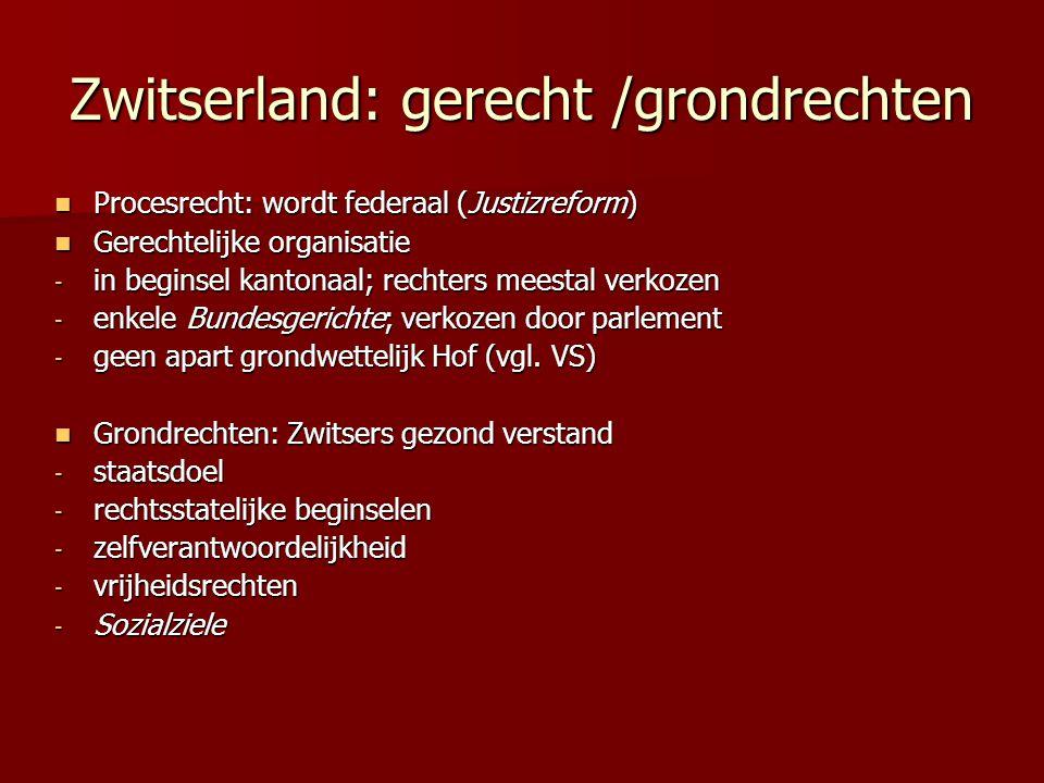 Zwitserland: gerecht /grondrechten Procesrecht: wordt federaal (Justizreform) Procesrecht: wordt federaal (Justizreform) Gerechtelijke organisatie Ger