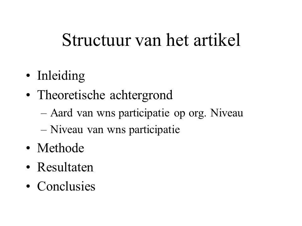 Structuur van het artikel Inleiding Theoretische achtergrond –Aard van wns participatie op org.
