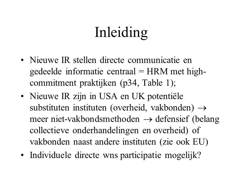 Inleiding Nieuwe IR stellen directe communicatie en gedeelde informatie centraal = HRM met high- commitment praktijken (p34, Table 1); Nieuwe IR zijn in USA en UK potentiële substituten instituten (overheid, vakbonden)  meer niet-vakbondsmethoden  defensief (belang collectieve onderhandelingen en overheid) of vakbonden naast andere instituten (zie ook EU) Individuele directe wns participatie mogelijk
