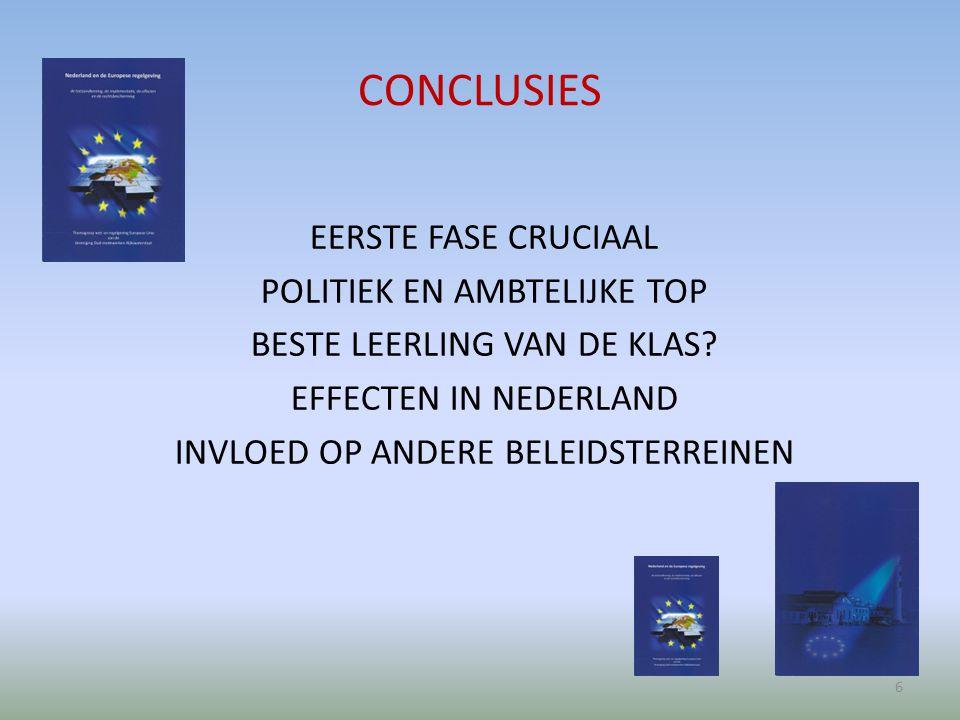 CONCLUSIES EERSTE FASE CRUCIAAL POLITIEK EN AMBTELIJKE TOP BESTE LEERLING VAN DE KLAS.