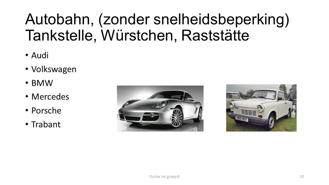 Autobahn, (zonder snelheidsbeperking) Tankstelle, Würstchen, Raststätte Audi Volkswagen BMW Mercedes Porsche Trabant Duitse les groep 810