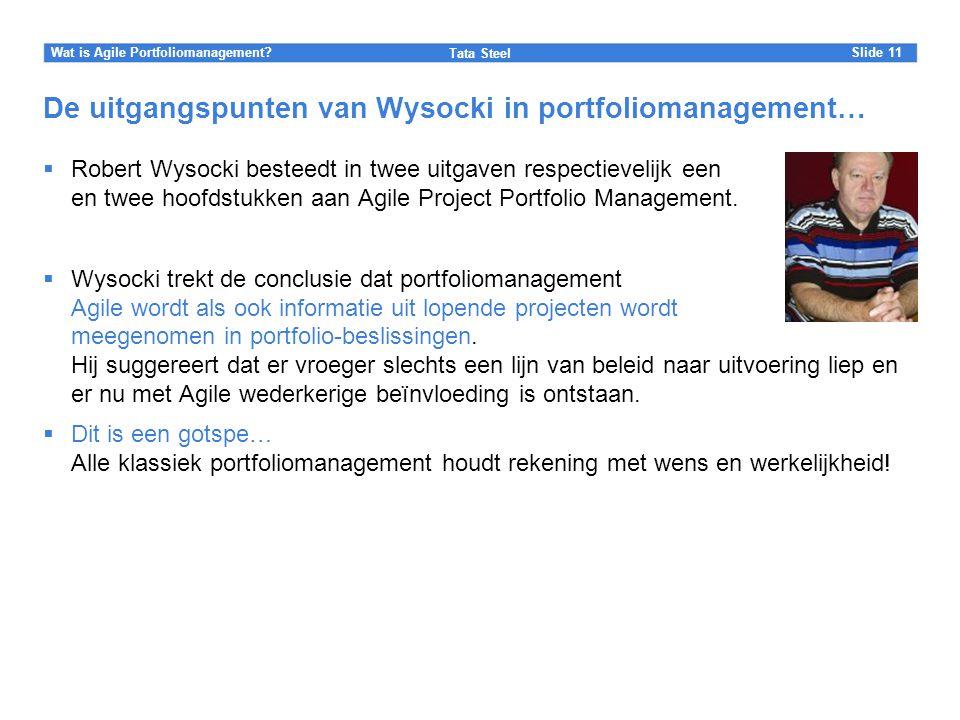 Slide Tata Steel 11Wat is Agile Portfoliomanagement? De uitgangspunten van Wysocki in portfoliomanagement…  Robert Wysocki besteedt in twee uitgaven
