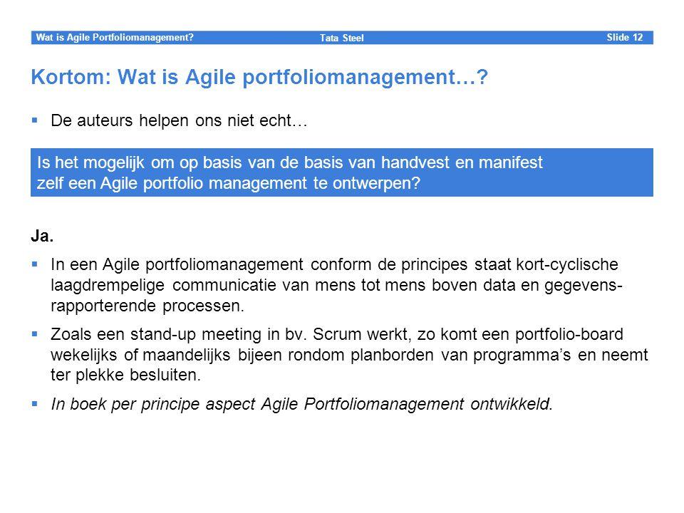 Slide Tata Steel 12Wat is Agile Portfoliomanagement? Kortom: Wat is Agile portfoliomanagement…?  De auteurs helpen ons niet echt… Ja.  In een Agile