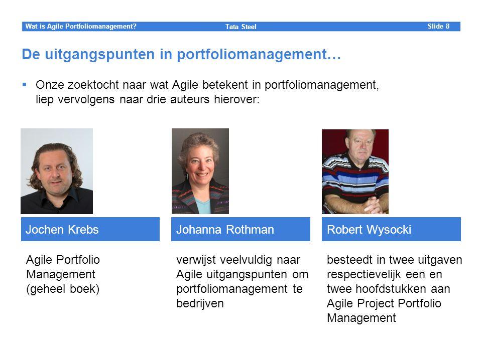 Slide Tata Steel 8Wat is Agile Portfoliomanagement? De uitgangspunten in portfoliomanagement…  Onze zoektocht naar wat Agile betekent in portfolioman