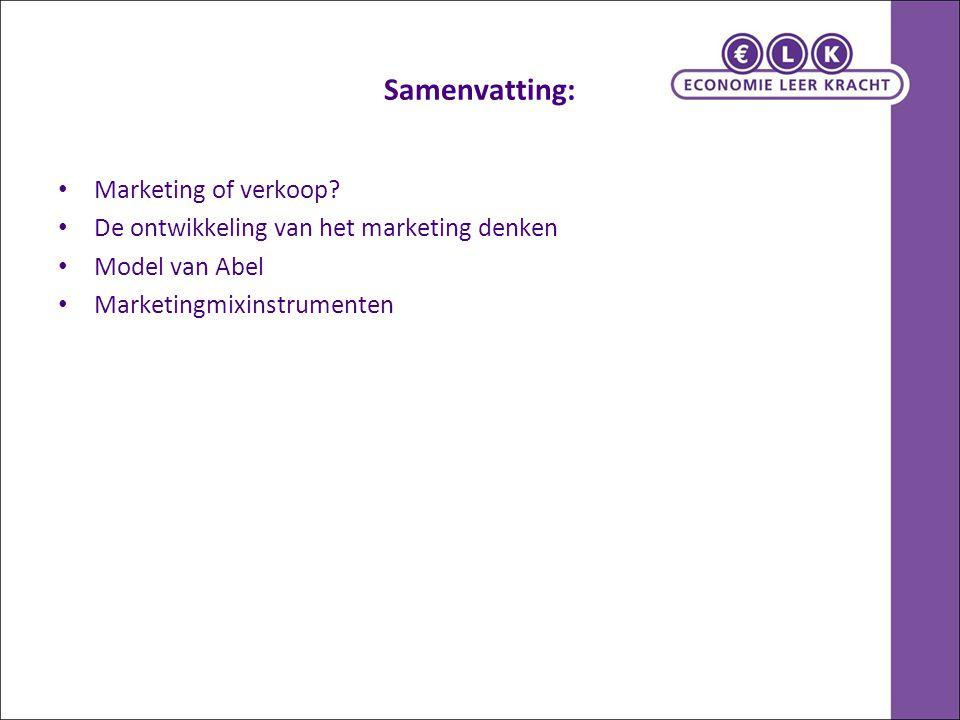 Samenvatting: Marketing of verkoop.