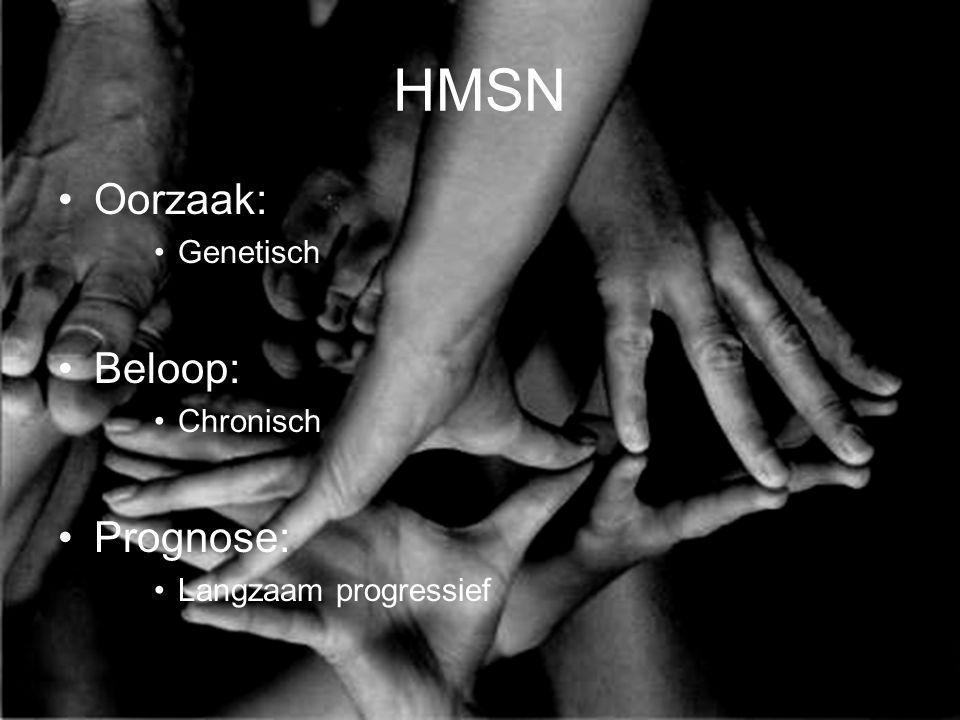 HMSN Oorzaak: Genetisch Beloop: Chronisch Prognose: Langzaam progressief