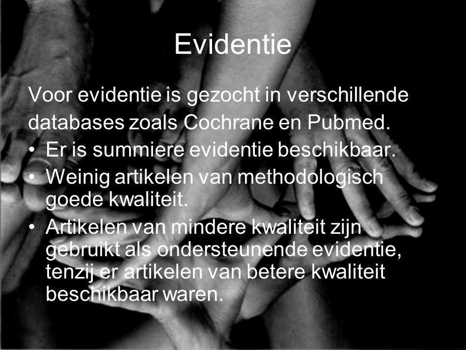 Evidentie Voor evidentie is gezocht in verschillende databases zoals Cochrane en Pubmed. Er is summiere evidentie beschikbaar. Weinig artikelen van me