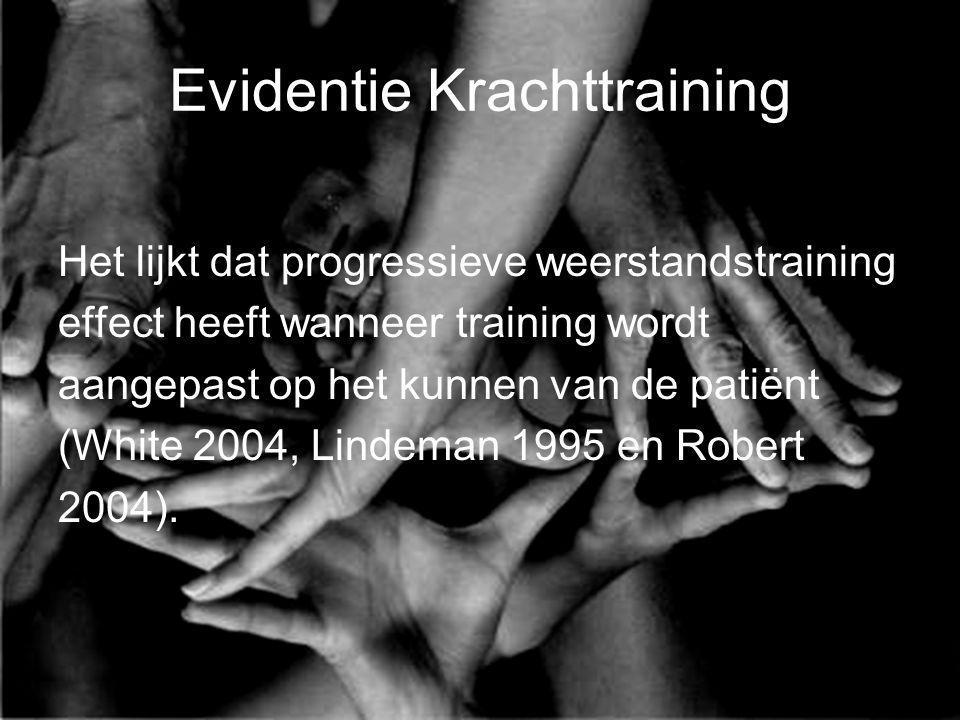 Evidentie Krachttraining Het lijkt dat progressieve weerstandstraining effect heeft wanneer training wordt aangepast op het kunnen van de patiënt (Whi