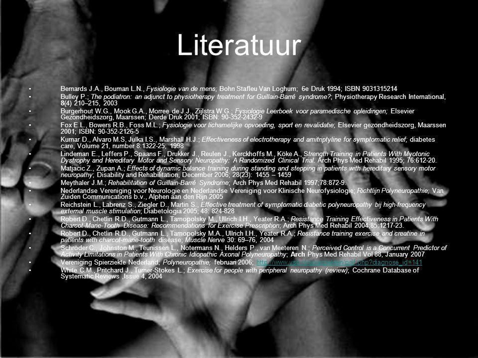 Literatuur Bernards J.A., Bouman L.N., Fysiologie van de mens; Bohn Stafleu Van Loghum; 6e Druk 1994; ISBN 9031315214 Bulley P.; The podiatron: an adj