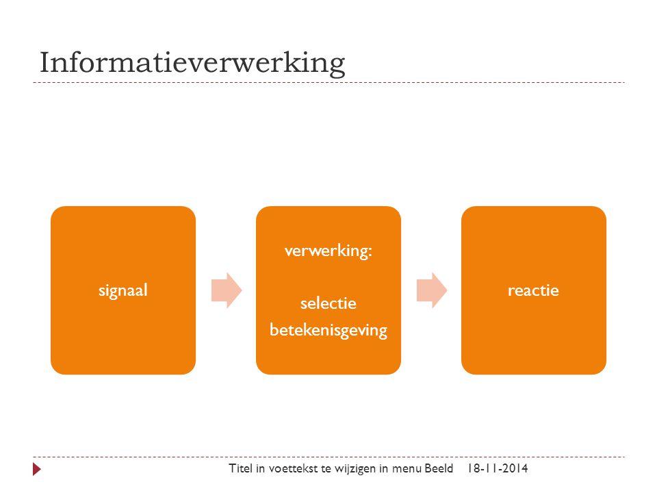 Informatieverwerking 18-11-2014Titel in voettekst te wijzigen in menu Beeld signaal verwerking: selectie betekenisgeving reactie