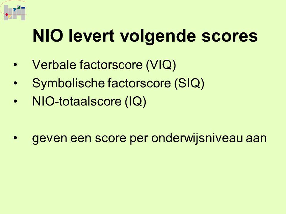 NIO levert volgende scores Verbale factorscore (VIQ) Symbolische factorscore (SIQ) NIO-totaalscore (IQ) geven een score per onderwijsniveau aan