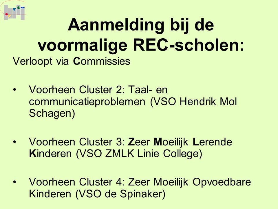 Aanmelding bij de voormalige REC-scholen: Verloopt via Commissies Voorheen Cluster 2: Taal- en communicatieproblemen (VSO Hendrik Mol Schagen) Voorhee