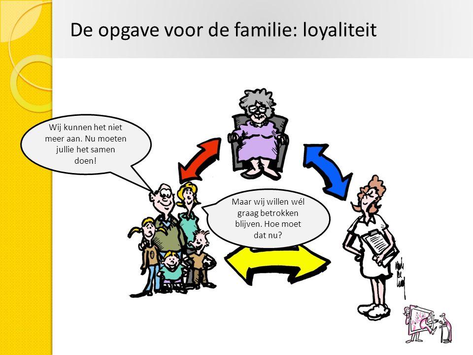 De opgave voor de familie: loyaliteit Wij kunnen het niet meer aan. Nu moeten jullie het samen doen! Maar wij willen wél graag betrokken blijven. Hoe