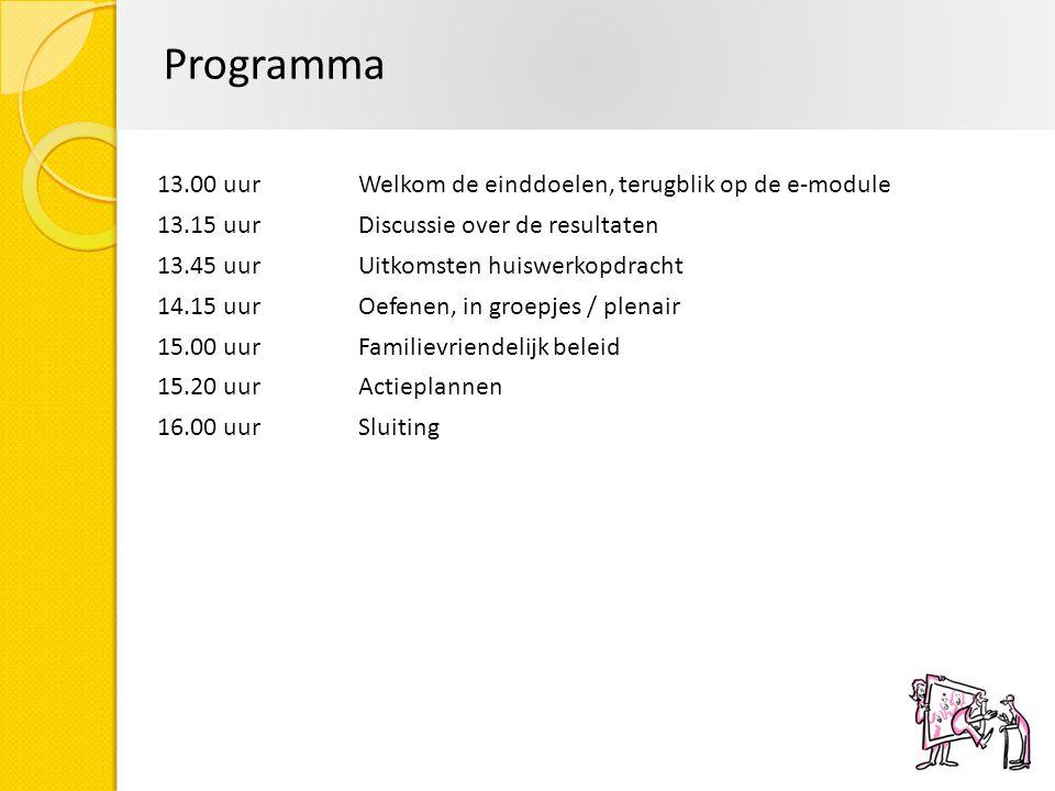 Programma 13.00 uurWelkom de einddoelen, terugblik op de e-module 13.15 uur Discussie over de resultaten 13.45 uurUitkomsten huiswerkopdracht 14.15 uu
