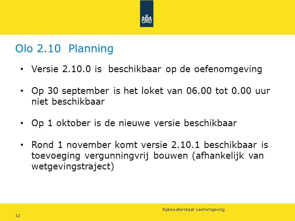 Rijkswaterstaat Leefomgeving 12 Olo 2.10 Planning Versie 2.10.0 is beschikbaar op de oefenomgeving Op 30 september is het loket van 06.00 tot 0.00 uur