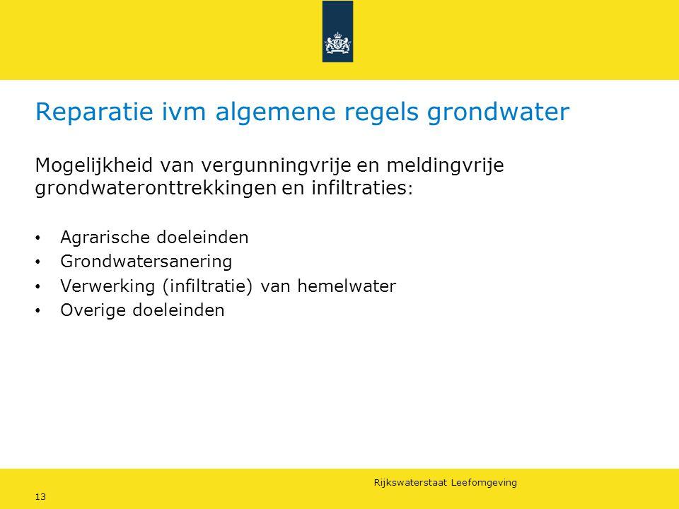 Rijkswaterstaat Leefomgeving 13 Reparatie ivm algemene regels grondwater Mogelijkheid van vergunningvrije en meldingvrije grondwateronttrekkingen en i