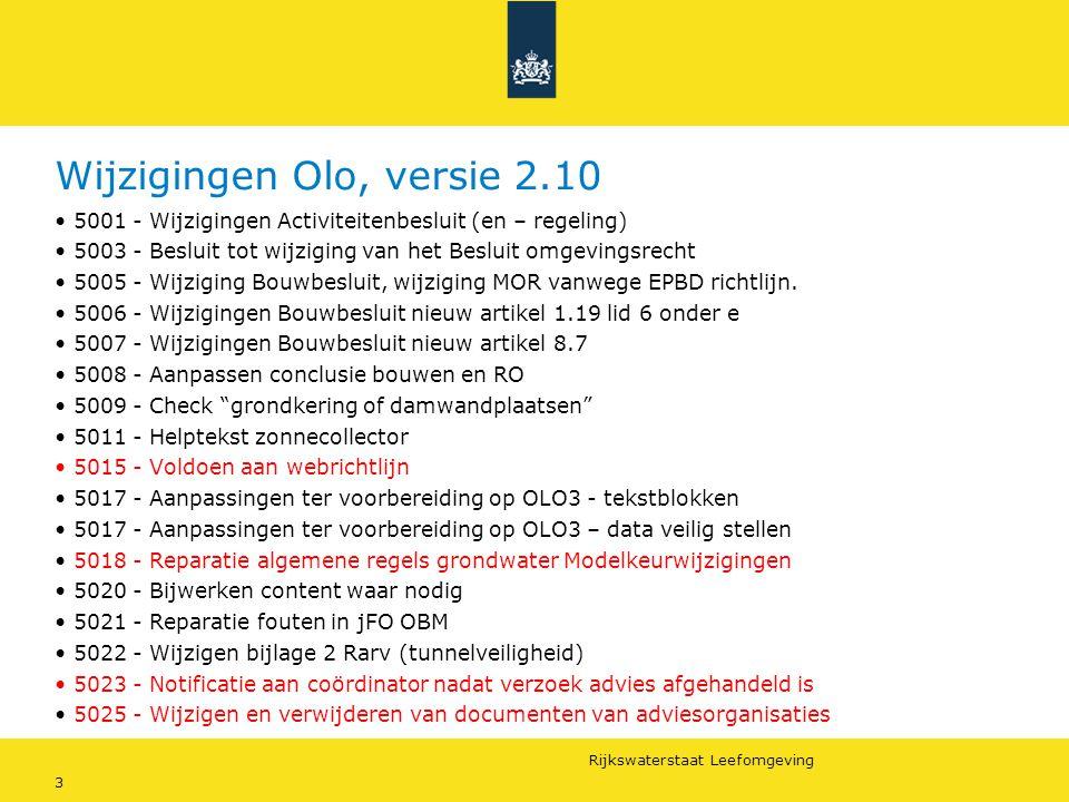 Rijkswaterstaat Leefomgeving 3 Wijzigingen Olo, versie 2.10 5001 - Wijzigingen Activiteitenbesluit (en – regeling) 5003 - Besluit tot wijziging van he