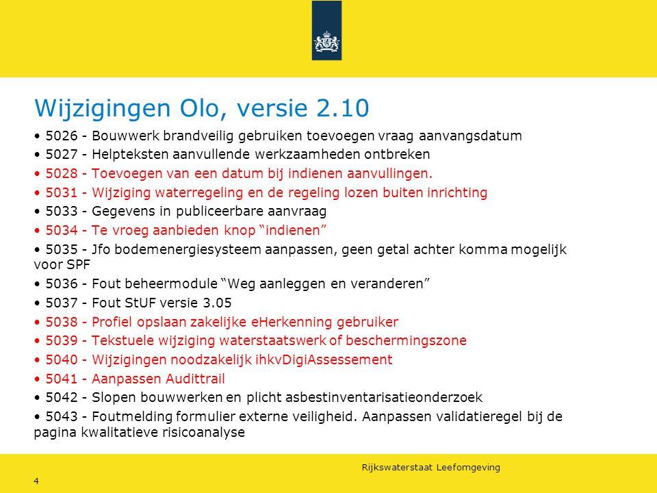 Rijkswaterstaat Leefomgeving 5 Wijzigingen Olo, versie 2.10 Vergunningcheck Aanvraagformulier Aanvraagmodule Behandelmodule Beheermodule