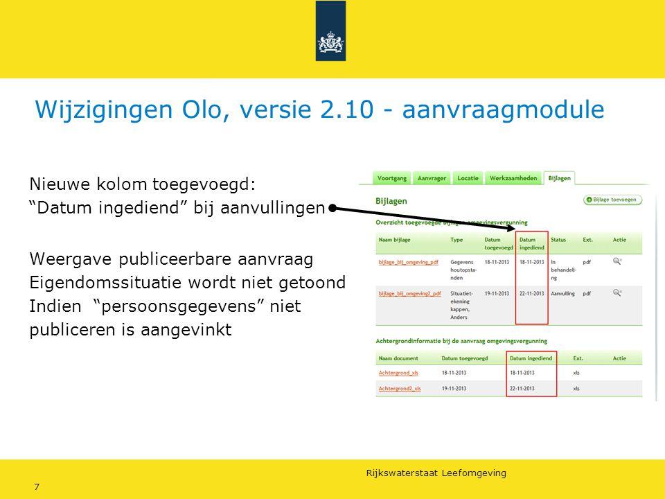 """Rijkswaterstaat Leefomgeving 7 Wijzigingen Olo, versie 2.10 - aanvraagmodule Nieuwe kolom toegevoegd: """"Datum ingediend"""" bij aanvullingen Weergave publ"""