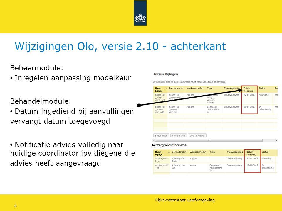 Rijkswaterstaat Leefomgeving 8 Wijzigingen Olo, versie 2.10 - achterkant Beheermodule: Inregelen aanpassing modelkeur Behandelmodule: Datum ingediend