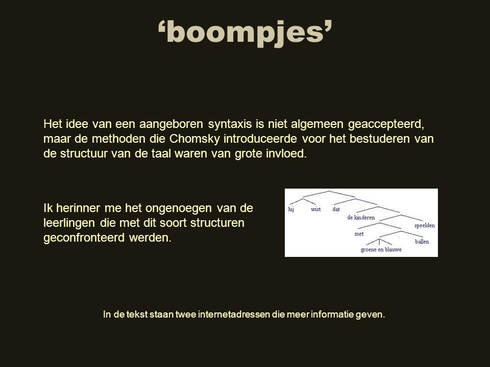 'boompjes' Het idee van een aangeboren syntaxis is niet algemeen geaccepteerd, maar de methoden die Chomsky introduceerde voor het bestuderen van de s