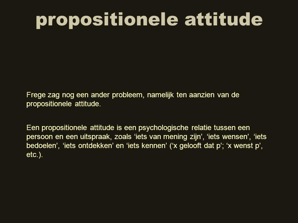propositionele attitude Frege zag nog een ander probleem, namelijk ten aanzien van de propositionele attitude. Een propositionele attitude is een psyc
