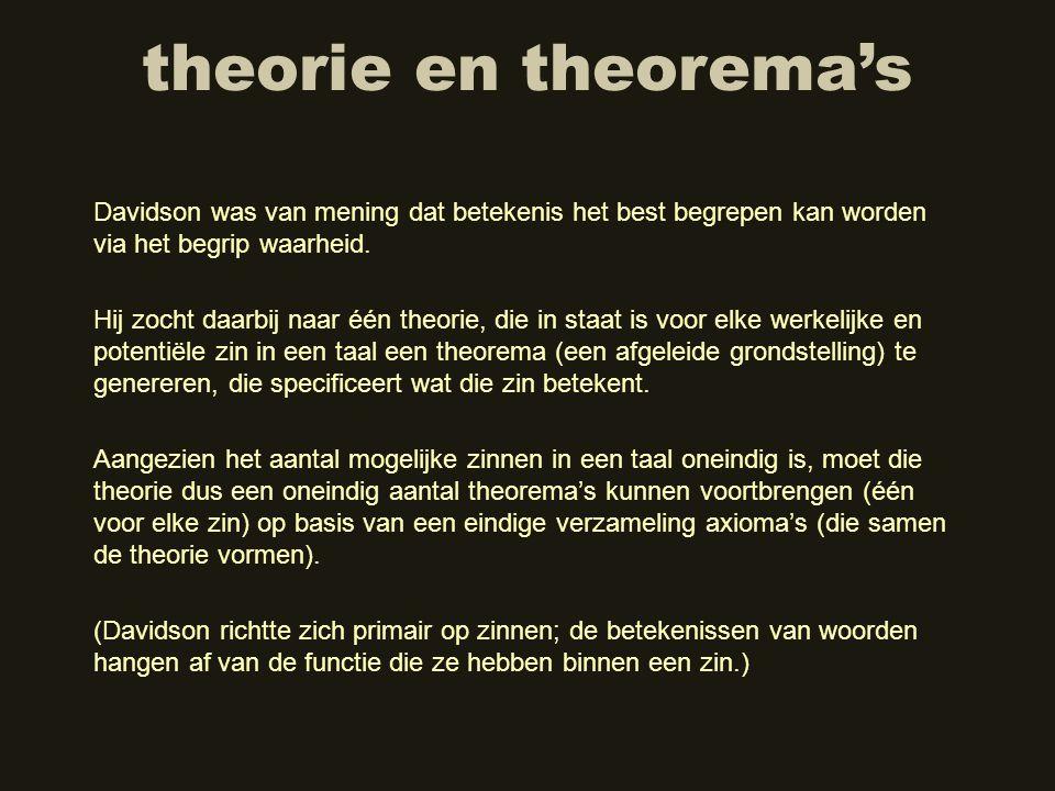 theorie en theorema's Hij zocht daarbij naar één theorie, die in staat is voor elke werkelijke en potentiële zin in een taal een theorema (een afgelei