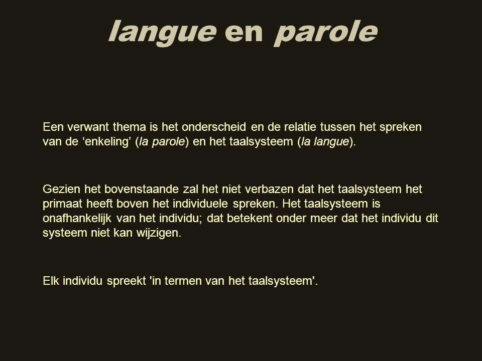 langue en parole Gezien het bovenstaande zal het niet verbazen dat het taalsysteem het primaat heeft boven het individuele spreken. Het taalsysteem is