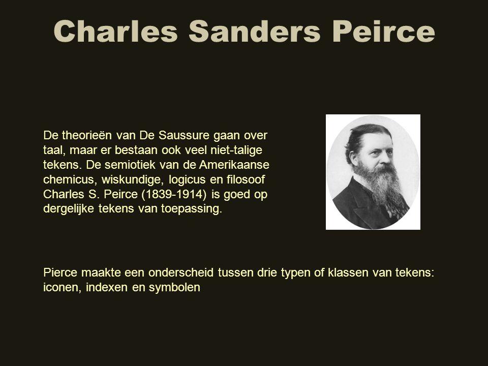 Charles Sanders Peirce De theorieën van De Saussure gaan over taal, maar er bestaan ook veel niet-talige tekens. De semiotiek van de Amerikaanse chemi