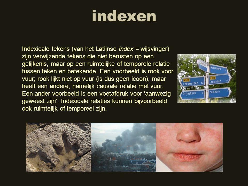 indexen Indexicale tekens (van het Latijnse index = wijsvinger) zijn verwijzende tekens die niet berusten op een gelijkenis, maar op een ruimtelijke o