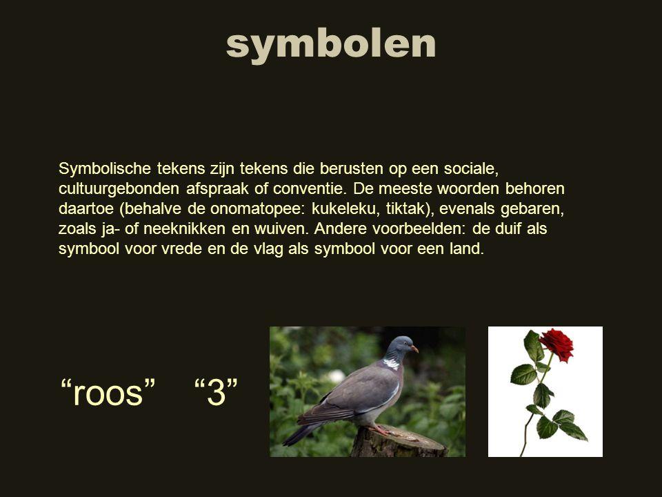 symbolen Symbolische tekens zijn tekens die berusten op een sociale, cultuurgebonden afspraak of conventie. De meeste woorden behoren daartoe (behalve