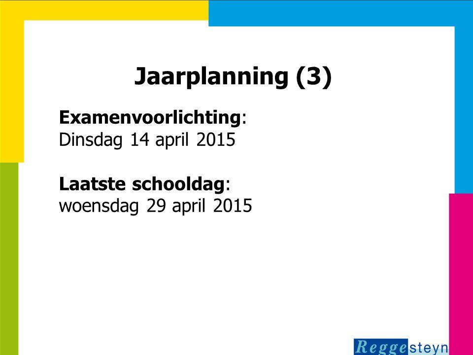 18-11-2014115 Jaarplanning (3) Examenvoorlichting: Dinsdag 14 april 2015 Laatste schooldag: woensdag 29 april 2015