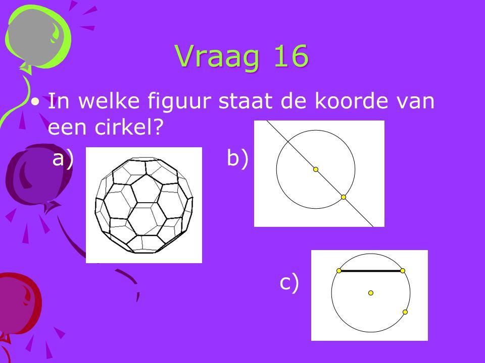 Vraag 16 In welke figuur staat de koorde van een cirkel? a) b) c)