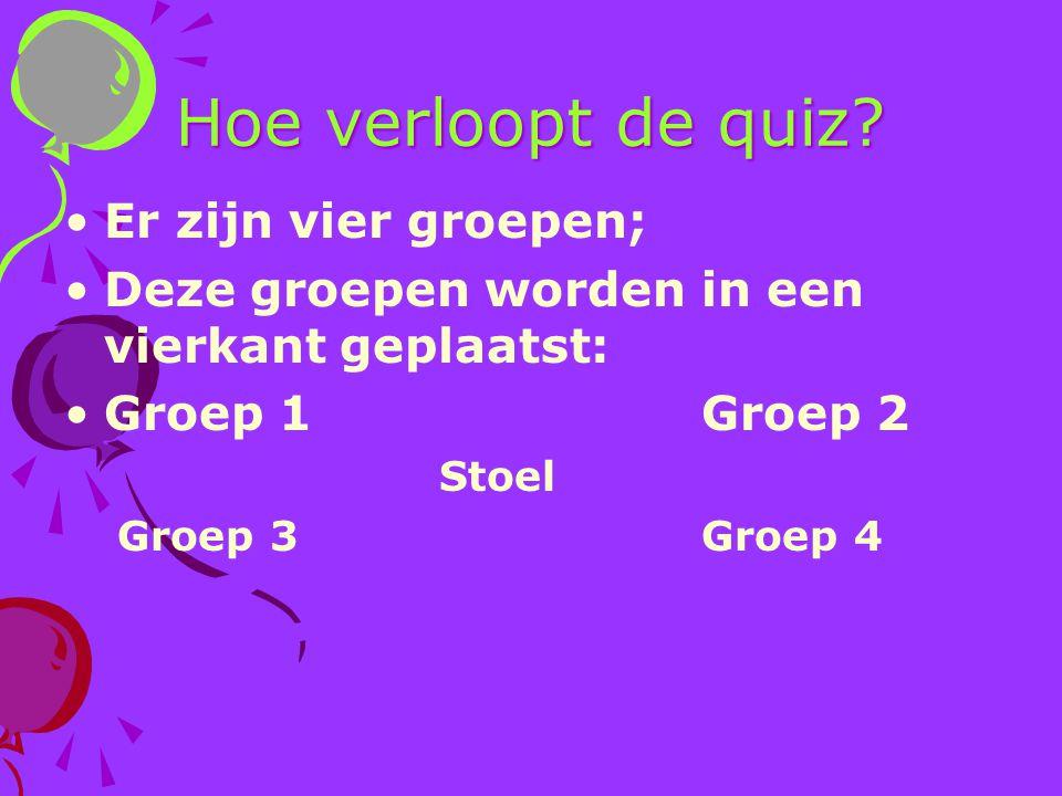 Hoe verloopt de quiz? Er zijn vier groepen; Deze groepen worden in een vierkant geplaatst: Groep 1Groep 2 Stoel Groep 3Groep 4