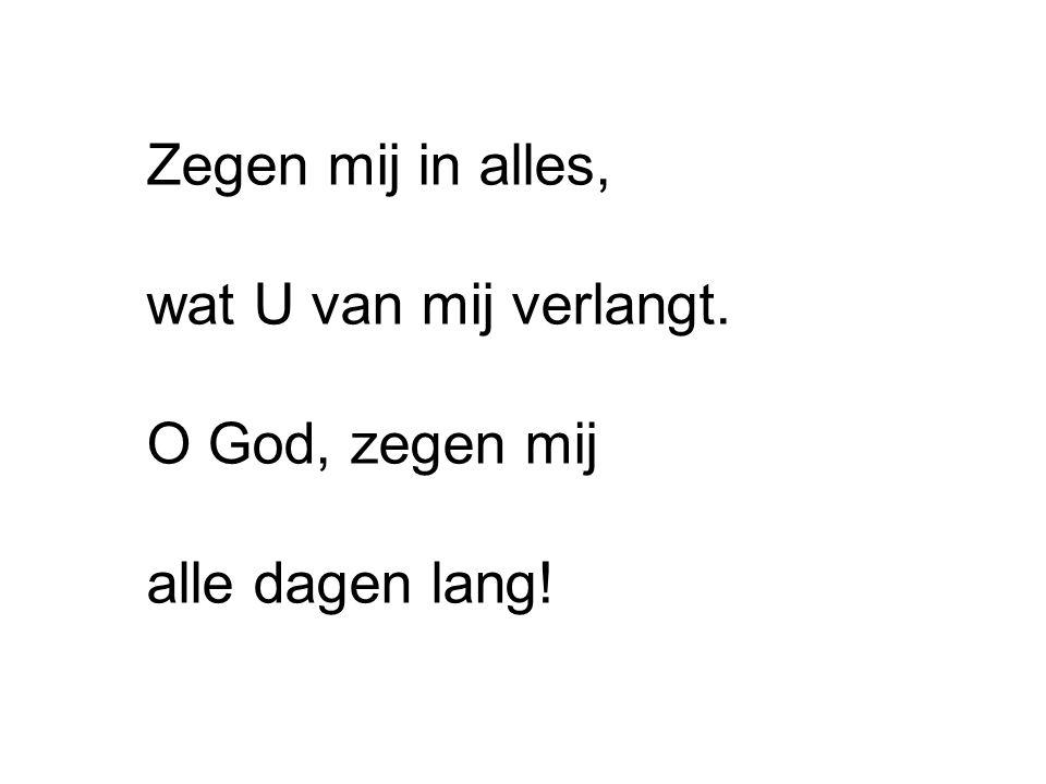 Zegen mij in alles, wat U van mij verlangt. O God, zegen mij alle dagen lang!