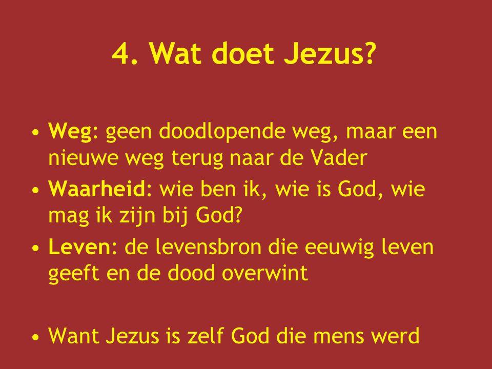 Weg: geen doodlopende weg, maar een nieuwe weg terug naar de Vader Waarheid: wie ben ik, wie is God, wie mag ik zijn bij God.