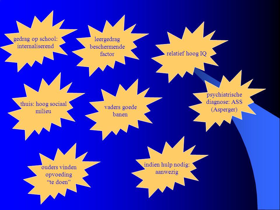 gedrag op school: internaliserend leergedrag beschermende factor thuis: hoog sociaal milieu relatief hoog IQ vaders goede banen psychiatrische diagnose: ASS (Asperger) ouders vinden opvoeding te doen indien hulp nodig: aanwezig