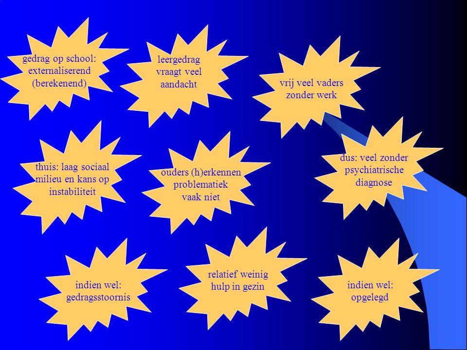 gedrag op school: externaliserend (berekenend) leergedrag vraagt veel aandacht thuis: laag sociaal milieu en kans op instabiliteit vrij veel vaders zonder werk ouders (h)erkennen problematiek vaak niet dus: veel zonder psychiatrische diagnose indien wel: gedragsstoornis relatief weinig hulp in gezin indien wel: opgelegd